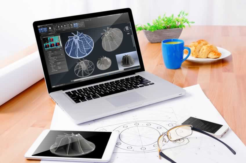 Engineer's workplace with notebook, tablet, glasses, sketching,