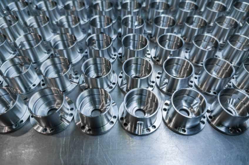 batch of shiny metal cnc aerospace parts
