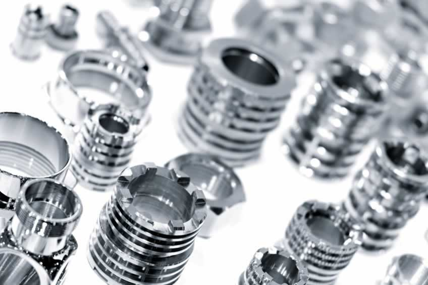 metal parts with threaded nuts and bolts