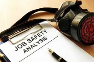 Clipboard with document Job safety analysis